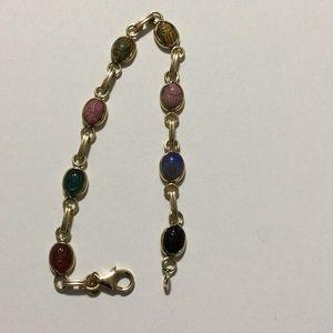 "14k Vintage Carla Scarab Bracelet 7.25"""